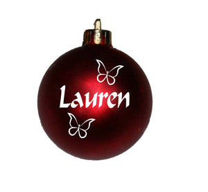 Personalised Christmas Bauble with Butterflies