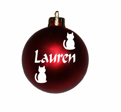 Personalised Christmas Bauble with CAT image