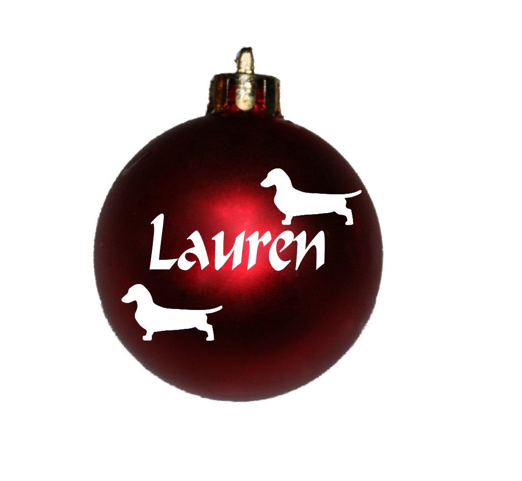 Personalised Christmas Bauble with Dachshund image