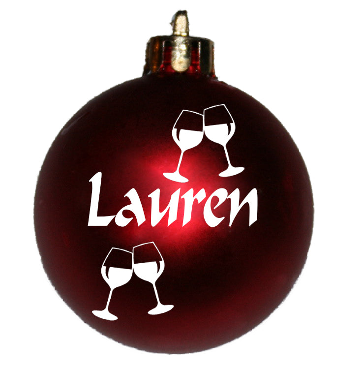 Personalised Christmas Bauble with WINE GLASSES