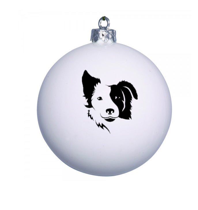 Personalised Christmas Bauble with BORDER COLLIE image