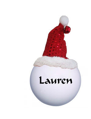 Personalised Christmas bauble with hat
