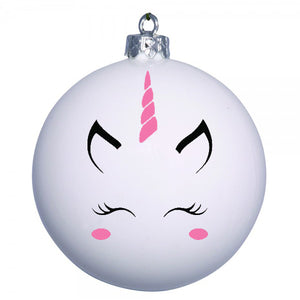 Personalised Unicorn bauble - pink cheeks and horn