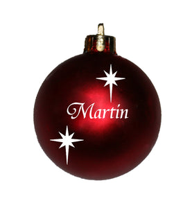 Personalised Christmas bauble with stars. New font
