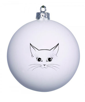 Personalised Christmas bauble with cat  face image