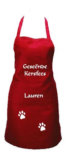 Personalised Christmas Apron with paws