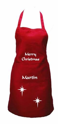 Personalised Christmas Apron with stars