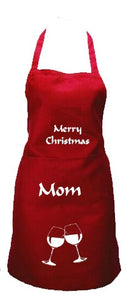 Personalised Christmas Apron with wine glasses