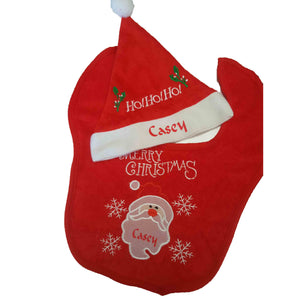 Personalised Christmas baby bib and hat set