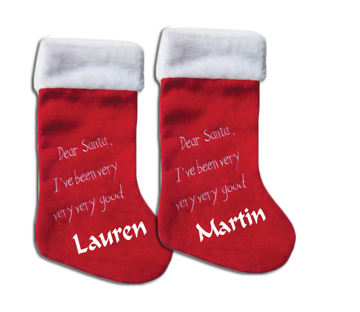 Personalised Christmas Stocking Dear Santa with designs