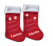 Personalised Christmas stocking with paws