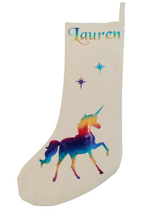 Personalised Unicorn Christmas stocking