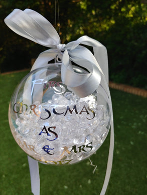 Personalised bauble with bling and ribbon