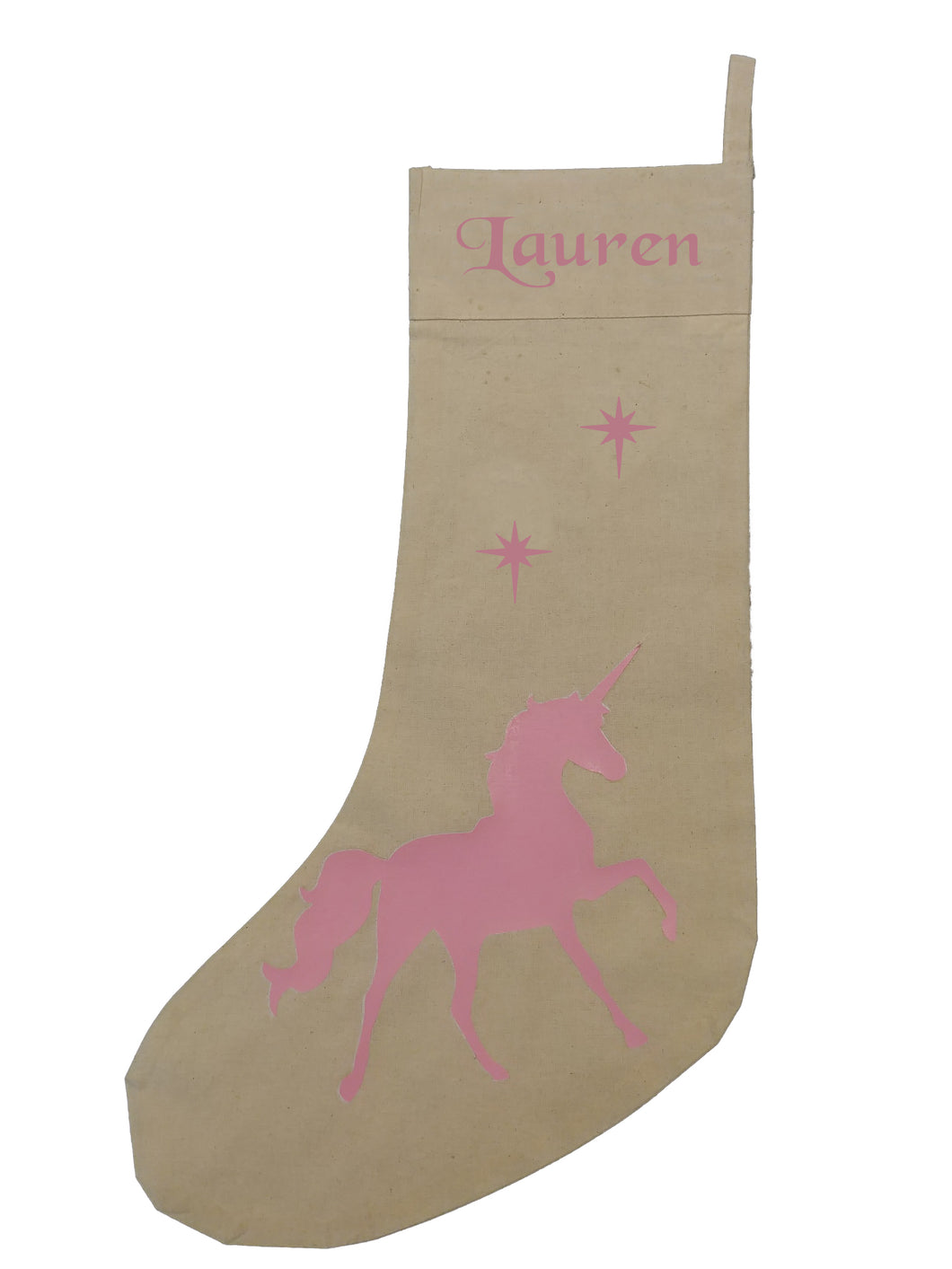 Personalised UNICORN Christmas stocking PINK