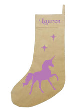 Personalised UNICORN Christmas stocking PURPLE