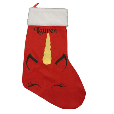Personalised Rec Christmas stocking with Unicorn image