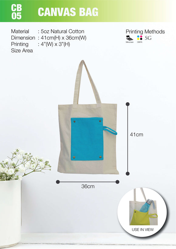 Included Printing | Ready Stock | Cotton Canvas 5oz | Stitch | A3 Size | Flat Foldable bag | - EWC WAWASAN ENTERPRISE