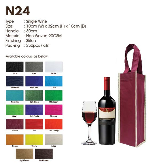 IPN 24 | Non Woven 90gsm | Stitch | Wine Bag | Single Bottle | Printing | - EWC WAWASAN ENTERPRISE