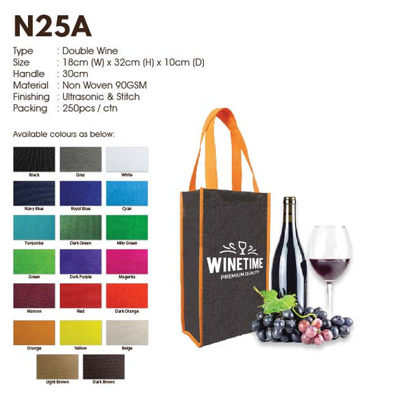 IPN 25A | Non Woven 90gsm | Wine Bag | Double Bottle | Stitch | Printing | - EWC WAWASAN ENTERPRISE
