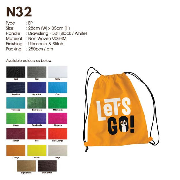 IPN 32 | Non Woven 90gsm | Drawstring Back Pack | A4 Size | Stitch | Printing |