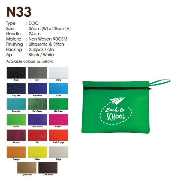 IPN 33 | Non Woven 90gsm | Seminar Bag with Zip | A4 size | Stitch | Printing | - EWC WAWASAN ENTERPRISE