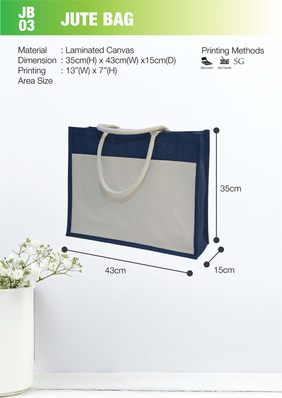 Empty bag | Ready Stock | Laminated Canvas + Jute | Front Pocket | Stitch | A3 Size | Landscape |  3pcs/packet - EWC WAWASAN ENTERPRISE