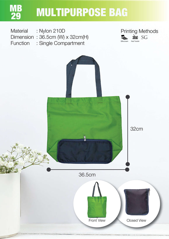 Included Printing | Ready Stock | Nylon | Foldable bag with zip  | A3 Size | - EWC WAWASAN ENTERPRISE