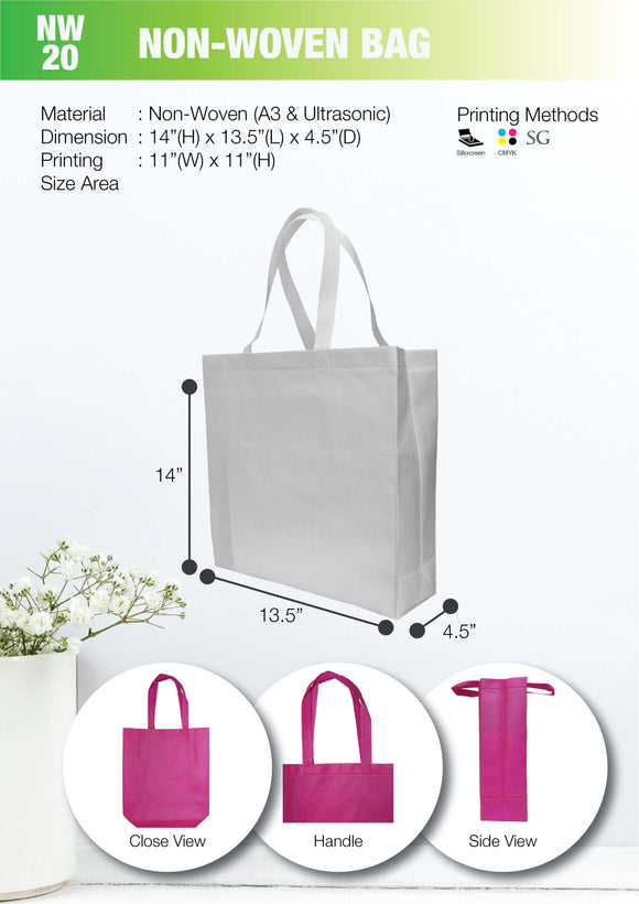 Empty bag | Ready Stock | Non Woven 80gsm | A4 Size | Ultrasonic | Landscape | - EWC WAWASAN ENTERPRISE