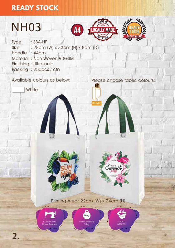 Included Printing | Ready Stock | Non Woven 90gsm | A4 size | Ultrasonic | Full Color | - EWC WAWASAN ENTERPRISE