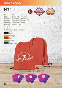 Included Printing | Ready Stock | Non Woven 90gsm | Flat | Drawstring Bag | A3 Size | - EWC WAWASAN ENTERPRISE