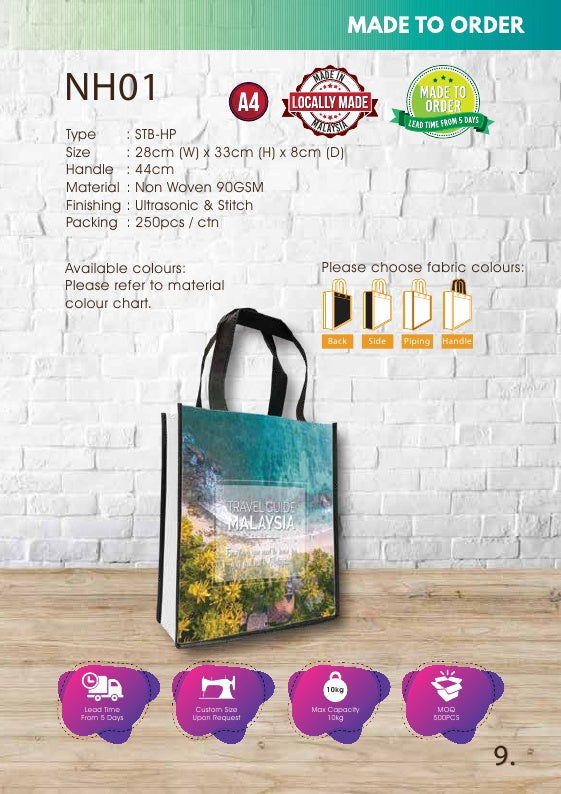 Included Printing | Custom Made | Non Woven 90gsm | Stitch | A4 Size | Full Color | - EWC WAWASAN ENTERPRISE