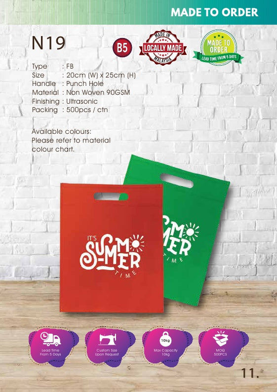 Included Printing | Custom Made | Non Woven 90gsm | Flat | A5 Size | Punch Hole | Ultrasonic | - EWC WAWASAN ENTERPRISE