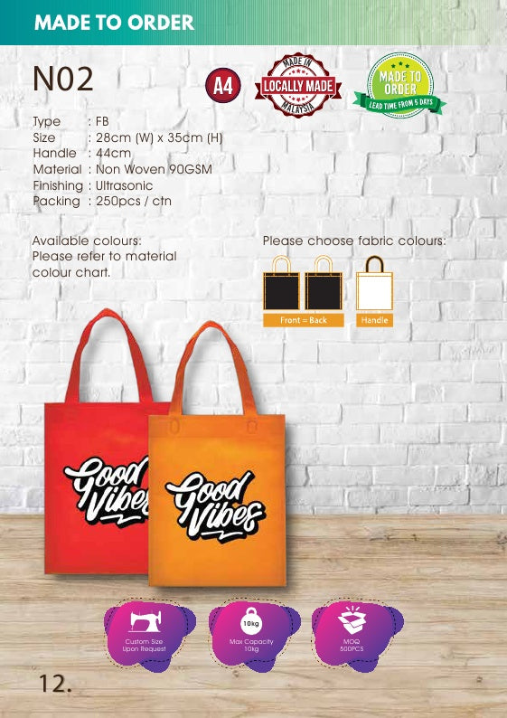 Included Printing | Custom Made | Non Woven 90gsm | Flat | A4 Size | Ultrasonic | - EWC WAWASAN ENTERPRISE