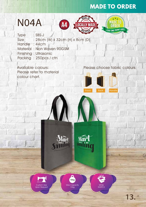 Included Printing | Custom Made | Non Woven 90gsm | SBS Joint | A4 Size | Ultrasonic | - EWC WAWASAN ENTERPRISE