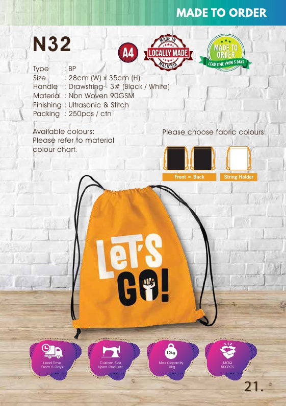 Included Printing | Custom Made | Non Woven 90gsm | Flat | Drawstring Bag | A4 Size | Stitch | - EWC WAWASAN ENTERPRISE