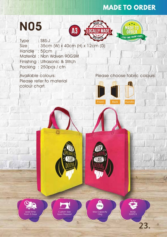 Included Printing | Custom Made | Non Woven 90gsm | SBS Joint | A3 Size | Ultrasonic | - EWC WAWASAN ENTERPRISE