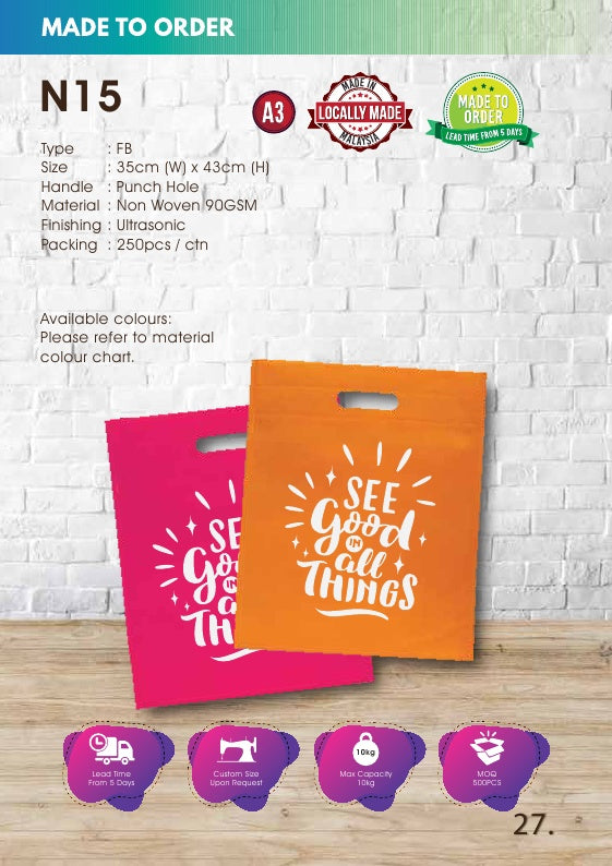Included Printing | Custom Made | Non Woven 90gsm | Punch Hole | A3 Size | Ultrasonic | - EWC WAWASAN ENTERPRISE