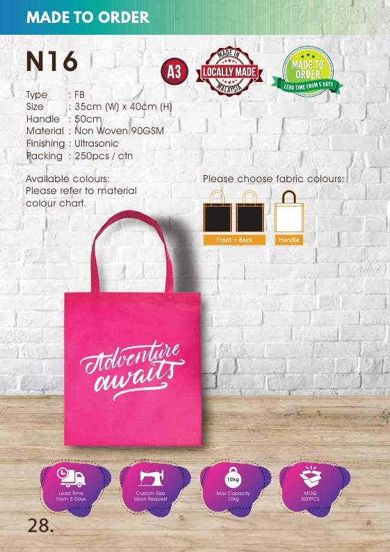 Included Printing | Custom Made | Non Woven 90gsm | Flat | A3 Size | Ultrasonic | - EWC WAWASAN ENTERPRISE