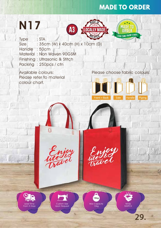 Non Woven Bag 90gsm | Stitch Bag | A3 Size | Ultrasonic Handle | Tote Bag | EcoBag | Recycle Bag | Iconbag | N17 |