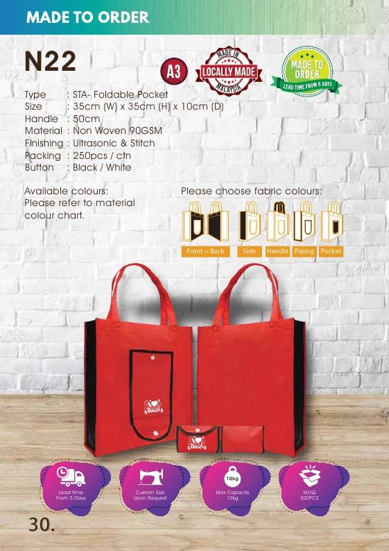 Included Printing | Custom Made | Non Woven 90gsm | Stitch | A3 Size | Foldable Pocket | - EWC WAWASAN ENTERPRISE