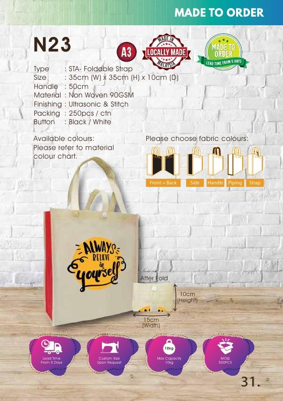 Included Printing | Custom Made | Non Woven 90gsm | Stitch | A3 Size | Foldable Strap | - EWC WAWASAN ENTERPRISE