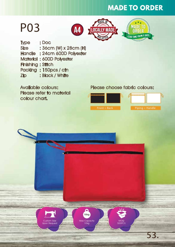 Included Printing | Custom Made | 600D Polyester | A4 Size | Seminar Bag | Stitch | - EWC WAWASAN ENTERPRISE