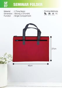 Included Printing | Ready Stock | 2 tone 600D | Seminar Folder with Zip | A4 Size | - EWC WAWASAN ENTERPRISE