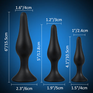 Utimi-Anal-Plug-Set-Medical-Grade-Butt-Plug-Silicone-Anal-Toys-for-Relaxation,-Ideal-for-Anal-Play,-Powerful-Suction-Cup-Black-3-Pcs-A-3