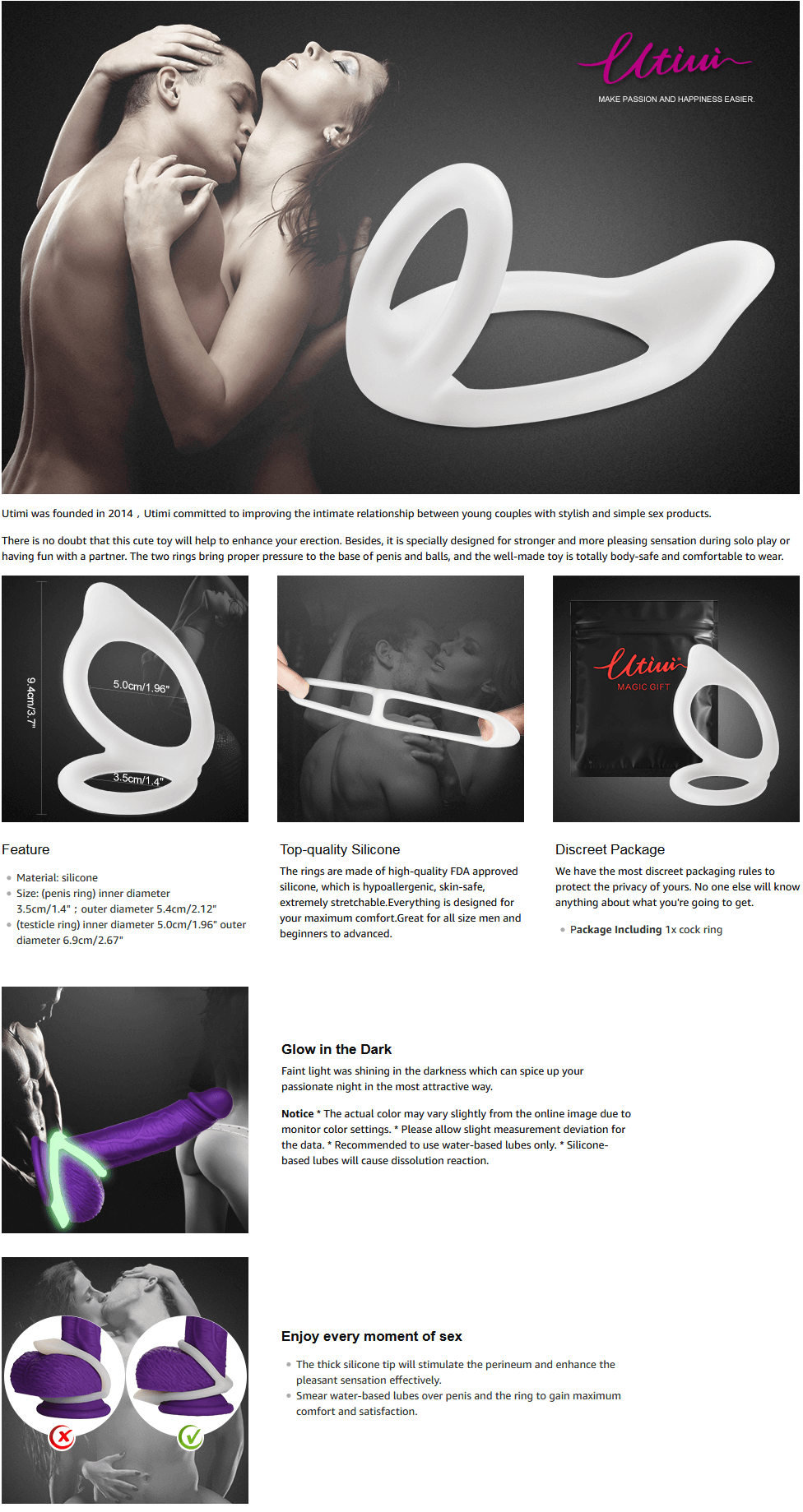 Utimi-Silicone-Cock-Ring-Stretchy-Love-Rings-Glow-in-the-Dark-Double-Ring-Penis-Rings-White