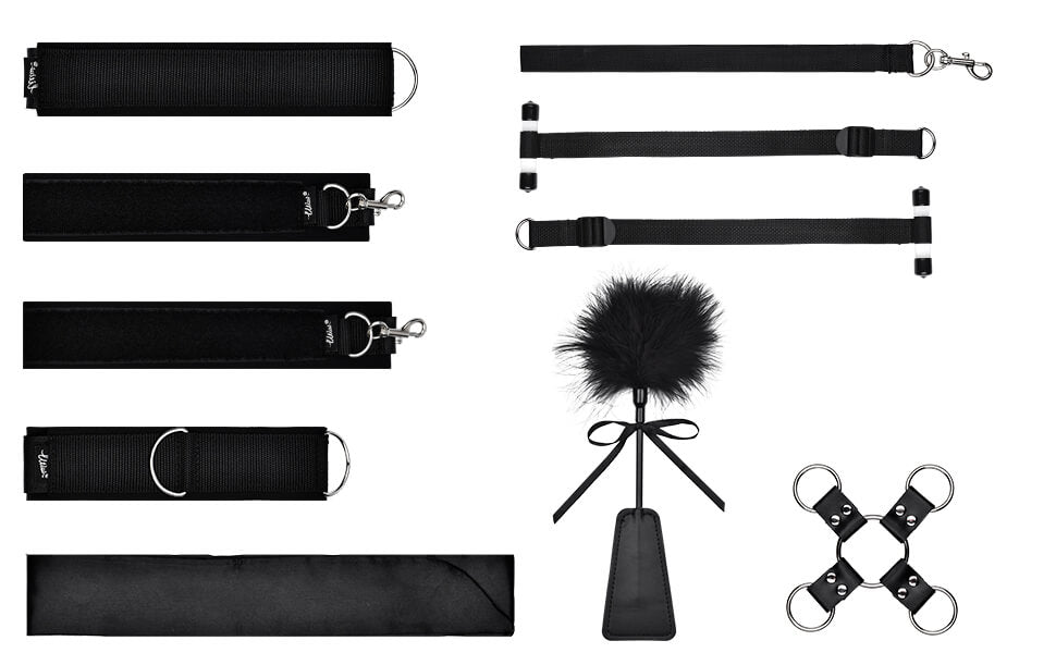Utimi sex restraints bdsm toys 9 pcs bondage kit, with sex handcuffs, ankle cuffs, feather tickler, blindfold and bdsm collar-3