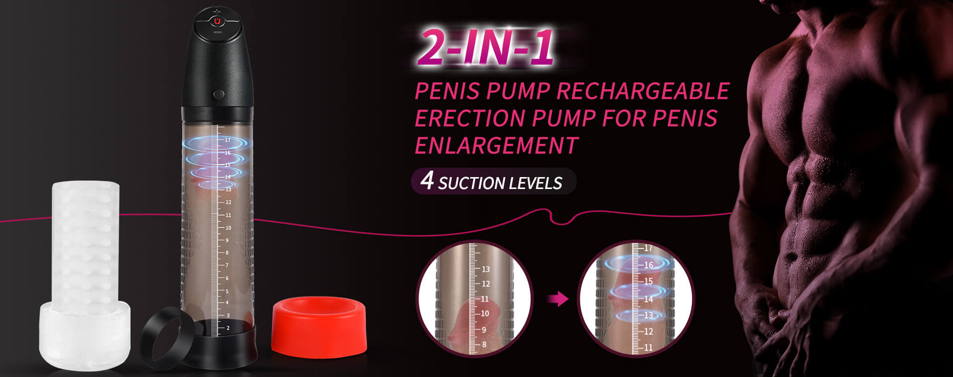 Utimi-Sex-Toys-Penis-Pump-Electric-Vacuum-Pumps-Silicone-4-Suction-Levels-Free-Shipping-Discreet-Package-Discount-Deals-Sales