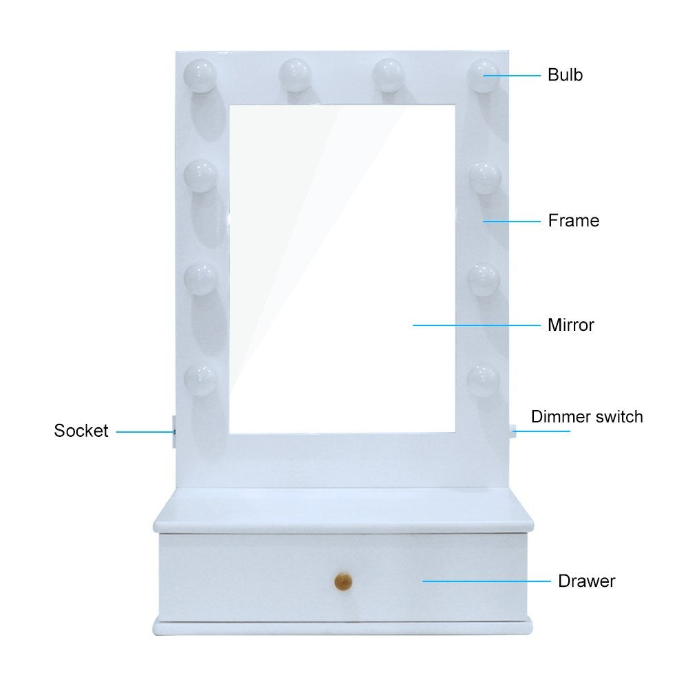 Vanity Mirror.Chende Hollywood Makeup Vanity Mirror With Light Tabletops Lighted Mirror With Dimmer Led Illuminated Cosmetic Mirror With Led Dimmable Bulbs