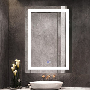 Chende 20 x 28 inches Anti Fogging Bathroom Mirror with Lights for Wall, Large Lighted Vanity Mirror for Bedroom, Wall Mounted Horizontal/Vertical
