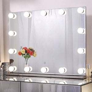 "Chende Large Hollywood Makeup Mirror with 14 LED Light Bulbs, 31.5"" X 23.6"" Lighted Vanity Mirror for Wall with Touch Control Dimmer in Makeup Studio, 3 Color Lighting Modes"